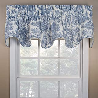 """Ellis Curtain Victoria Park Toile Room Darkening Solid Color Lined Scallop Window Valance - 70 x15"""", Blue"""