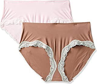 Triumph International No Panty Lines Lace Hipster Brief (Pack of 2) (M000406 I1 L_Red and Pink Combo)