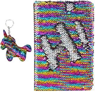 PojoTech Magic Sequin Notebook, Reversible Sequin Journal (Rainbow-Silver)
