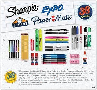 لوازم مدرسه متنوع ، Sharpie ، Expo ، Paper Mate ، Elmer's ، نشانگرهای دائمی ، مداد مکانیکی ، مداد چوبی ، خودکار ، قلم ژل ، چسب مدرسه ، چوب چسب ، و بیشتر ، 38 تعداد