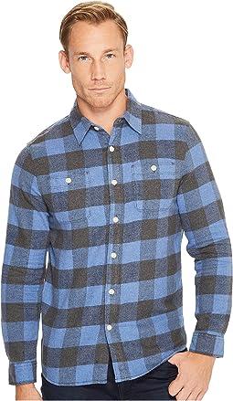 True Grit - Highway 1 Roadtrip Heather Melange Flannel Plaid Long Sleeve Shirt