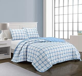 Casa Dottie All Season Machine Washable Alternative Reversible Gingham Buffalo Check Ultra Soft Lightweight Microfiber Quilt Set, Twin XL, Blue