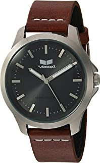 Vestal Stainless Steel Analog-Quartz Watch with Leather Strap, Brown, 18 (Model: HEI393L16.LBWH)