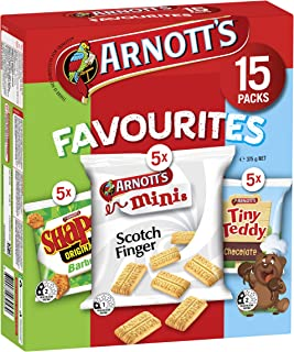 Arnott's Favourites BBQ Shapes Scotch Finger and Tiny Teddy Choc Multipack, 375 g