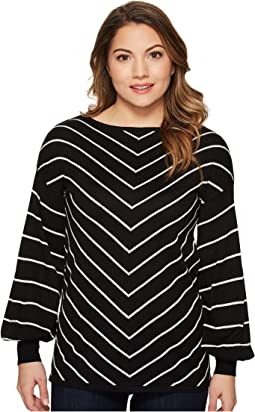 Vince Camuto Specialty Size - Petite Long Sleeve Chevron Intarsia Sweater