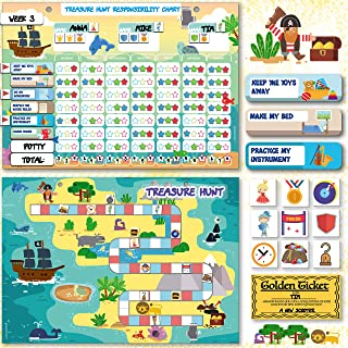 Chore Chart and Board Game - Teach Kids Lifelong Skills Through Gameplay - Magnetic Reward Behavior Responsibility Chore Chart for Multiple Kids Potty Training - Educational Toy