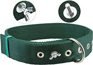 Bolted Heavy Duty Extra Wide Triple Layer Tie Out Dog Collar for Medium to Large Dogs 15