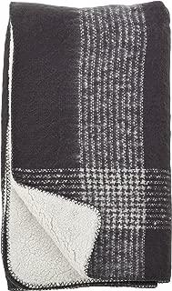 SARO LIFESTYLE Faux Mohair Plaid Design Sherpa Reversible Throw Blanket, 50