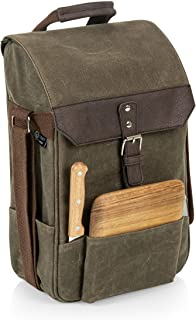 LEGACY - a Picnic Time Brand 2 Bottle Insulated Wine Bag with Cheese Board and Knife Set - Wine Picnic Bag - Waxed Canvas ...