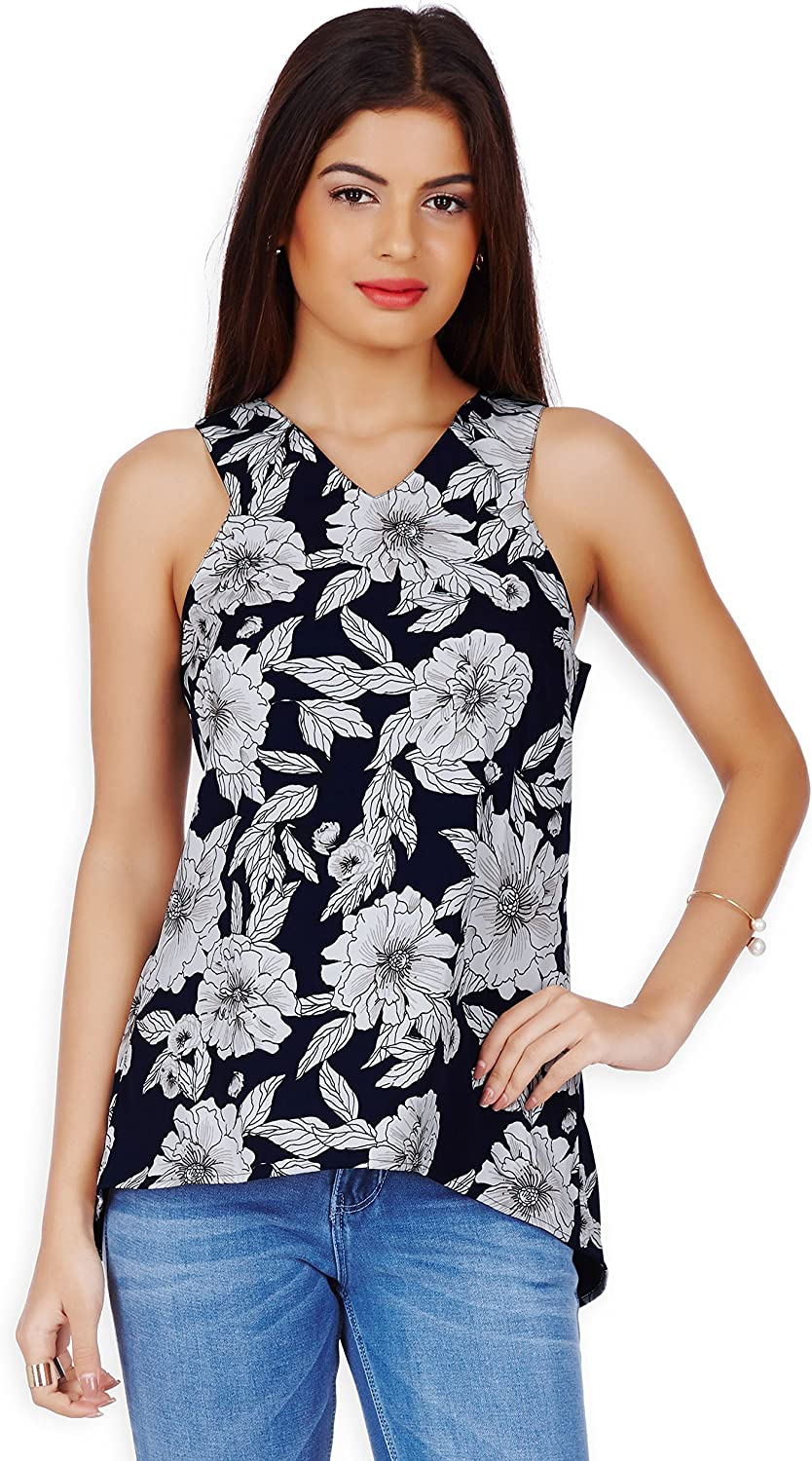 20Dresses Womens Floral Printed Sleeveless Polyester Top