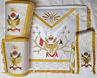 Zest4Canada Masonic Regalia 33rd Degree A.A.S.R Set Apron,Collar & Gauntlets Wing UP