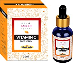 Khadi Mauri Herbal Vitamin C Face Serum with Hyaluronic Acid, Grape Seed Extract, Witch Hazel and Chamomile, Anti Ageing and Acne, 30 ml