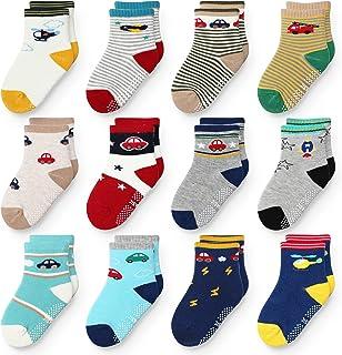 Paquete de 12 calcetines antideslizantes para bebés con agarres 1-5T, varios colores, regalo para bebés, niños y niñas