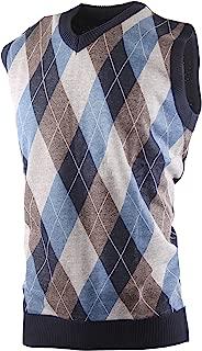 Mens Argyle/Plain V-Neck Golf Sweater Vest (Many Colors Available)