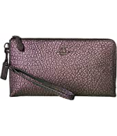 COACH Pebbled Leather Double Zip Wallet