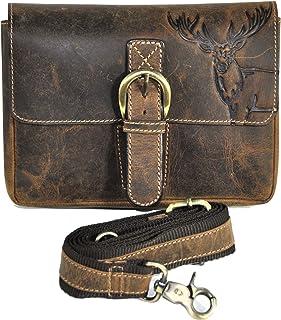 Jockey Club Leder Gürteltasche Bikertasche Hüfttasche Bauchtasche Vintage Hunterleder mit abnehmbaren Schultergurt Hirsch