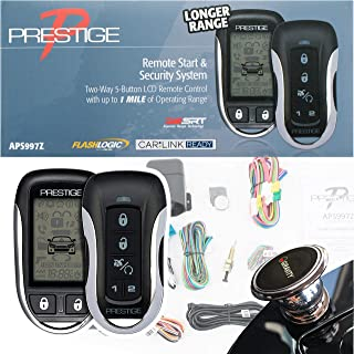 Prestige APS997Z Two-Way LCD Command Confirming Remote Start/Keyless Entry and Security System with up to 1 Mile Operating Range + Free Gravity Phone Holder