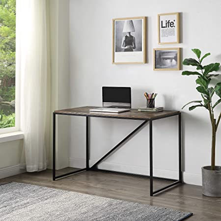 Angelbee Home Office 46 Inch Computer Desk Small Desk Home Office Study Desk Metal Frame Modern Simple Laptop Table Easy Assembly Industrial Style Brown Kitchen Dining