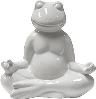 Sagebrook Home 11322 Ceramic Yoga Frog Figurine, White Ceramic, 7 x 4 x 7.5 Inches