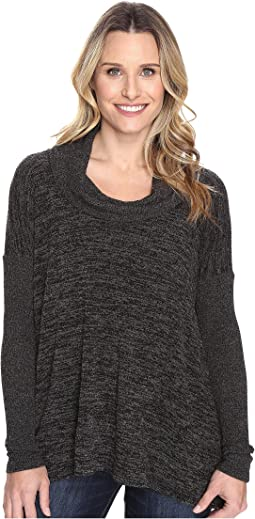 Heather Sweater w/ Rib Long Sleeve Cowl Neck Pullover