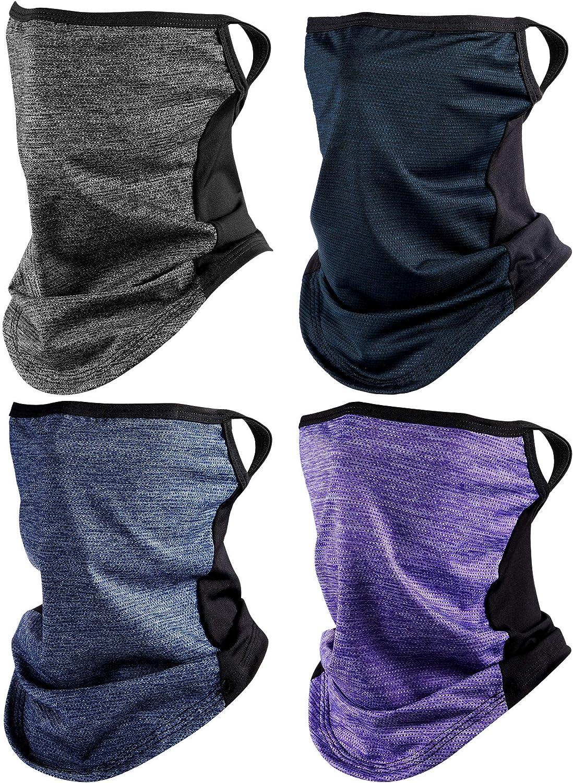 4 Pieces Bandanas Face Scarf Ear Loops Face Rave Cover Balaclava Neck Gaiter for Women Men Outdoors Sports