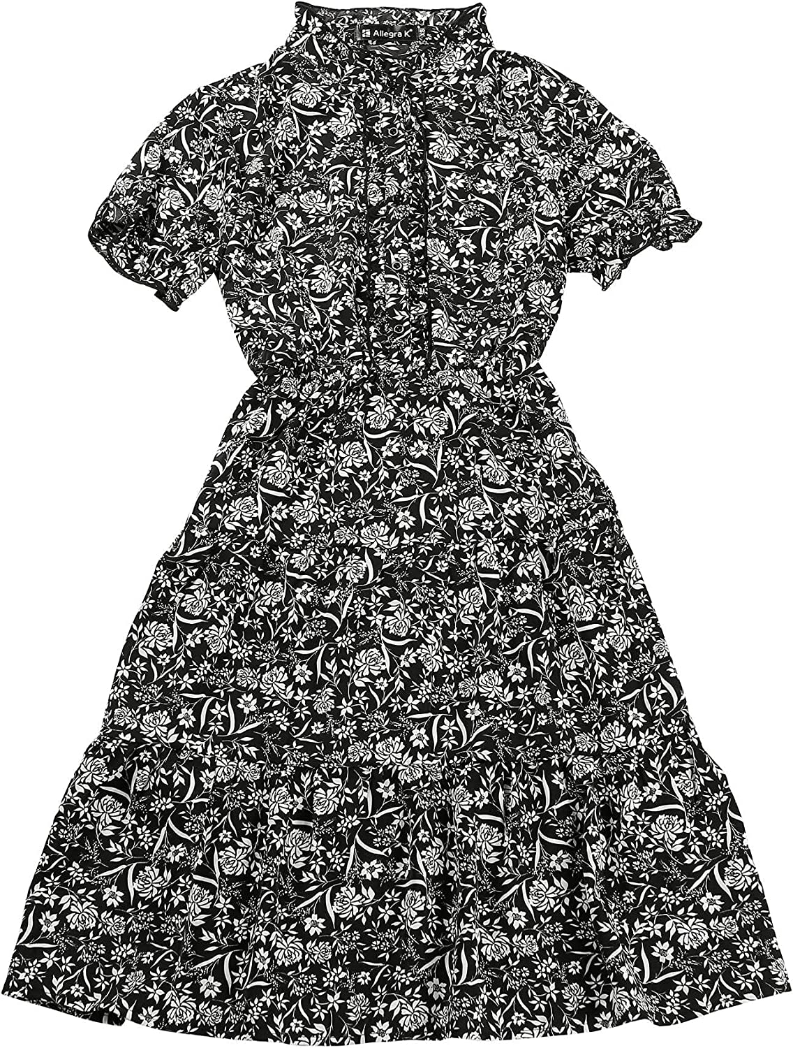 Allegra K Women's Boho Floral Button Flare 毎日激安特売で 営業中です 格安店 Ruffle Fit Front and