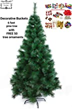 DECORATIVE BUCKETS Christmas Tree with 50 Decoration Ornaments (6ft)