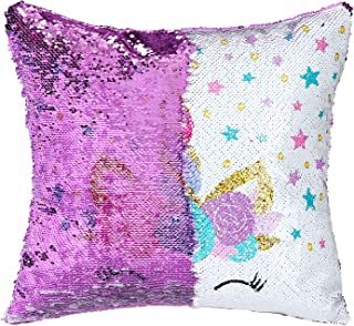 SHUNHAO Mermaid Pillow Cover Reversible Sequin Pillow Cover That Changes Color Holographic Rainbow Silver Flip Sequin Pillow Cover (Purple)