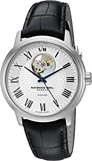 Men's Maestro Stainless Steel Swiss-Automatic Watch with Leather Strap, Black (Model: 2227-STC-00659)