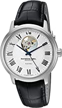 Raymond Weil Men's Maestro Stainless Steel Swiss-Automatic Watch with Leather Strap, Black (Model: 2227-STC-00659)