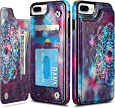 HianDier Wallet Case for iPhone 8 Plus iPhone 7 Plus Slim Protective Case with Credit Card Slot Holder Flip Soft PU Leather Magnetic Closure Cover Case Compatible with iPhone 7 Plus 8 Plus, Mandala