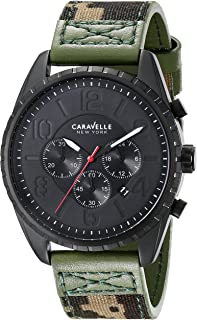 Caravelle New York Men's 45B123 Black Ion-Plated Stainless Steel Watch with Camo Canvas Band