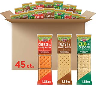 Keebler Sandwich Crackers 3 Flavors Variety Pack - Kids School Lunch Items in Individual Serving Size Packaging (Case cont...
