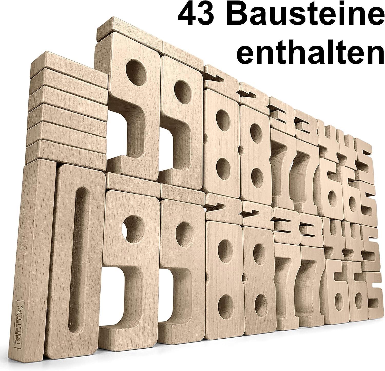 SumBlox Montessori Spielzeug Basis Set - 43 große Holz Bausteine aus massiver Buche in Form von Zahlen - Beim Spielen Mathematik, Zahlen, 1x1 (Einmaleins) und Rechnen Lernen, Pädagogisches Material B0794WS5JT    Günstigen Preis