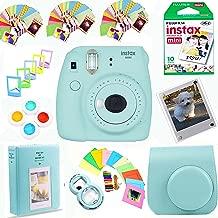 Fujifilm Instax Mini 9 Instant Film Camera (Ice Blue) + Instax Film (10 Shots) + Photix Pleather Case + 64 Pocket Album+ Photix Self-Standing Frames + Stick-on Frames Exclusive Instax Design Bundle