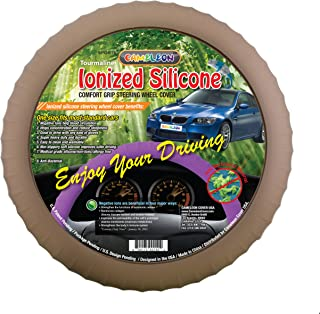 New SILICONE-Taupe Brown Steering Wheel Cover with Negative Ion Tech! By Cameleon