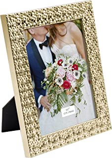 TERESA'S COLLECTIONS 5X7 Inch Picture Frame, Handmade Rustic Gold Sequins Design Photo Poster Frame for Tabletop/Wedding/Home/Wall Decorations (Mr. & Mrs.)