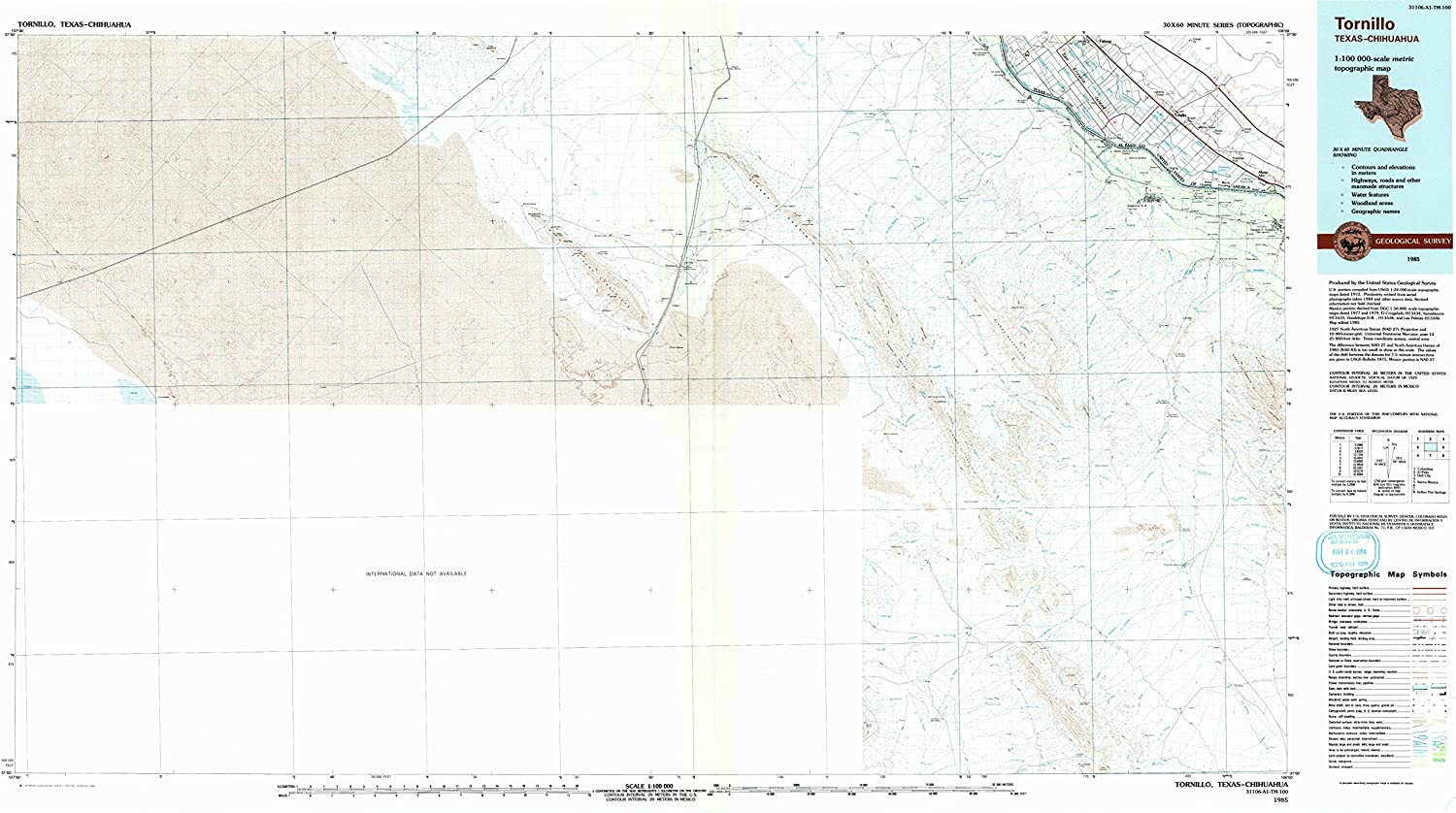 Tornillo TX topo map, 1 100000 Scale, 30 X 60 Minute, Historical, 1985, Updated 1993, 24.1 x 44 in