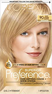 L'OrÃal Paris Superior Preference Fade-Defying + Shine Permanent Hair Color, 9G Light Golden Blonde, Hair Dye Kit (Pack of 1)