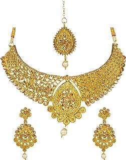 Bindhani Indian Jewelry Bollywood Style Wedding Bridal Bridemaids Gold Plated Kundan Choker Necklace Earrings Tikka Jewell...