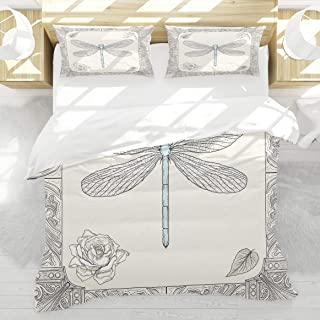 LAMANNT Duvet Cover Set,Dragonfly Hand Drawn Royal Ancient Style Rose Petals Leaves and Ornate Figures Design,3 Pcs Decor Bedding Set,1 Duvet Cover with 2 Pillow Shams,Twin Size