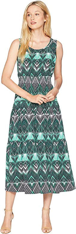 Stretch Crepe Sleeveless Midi Tier Dress with Smocked Waist