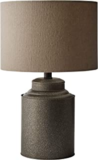 Amazon Brand – Stone & Beam Rustic Farmhouse Jug Living Room Table Lamp With LED Light Bulb and Drum Shade - 12.5 x 20 Inc...
