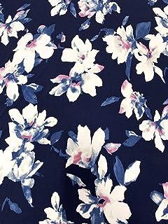 Floral Pattern on Stretch ITY Knit Jersey Polyester Spandex Fabric (Navy)
