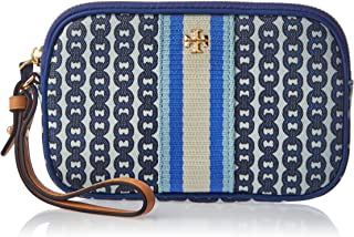 Tory Burch Gemini Link Canvas Wristlet in Bondi Blue