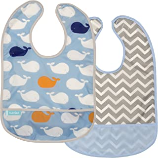 Kushies Cleanbib Waterproof Feeding Bib with Catch All/Crumb Catcher Pocket. Wipe Clean and Reuse! Lightweight for Comfort, 2-Pack, Baby Boys, 12 Months and Up, Blue Whales/Blue Chevron