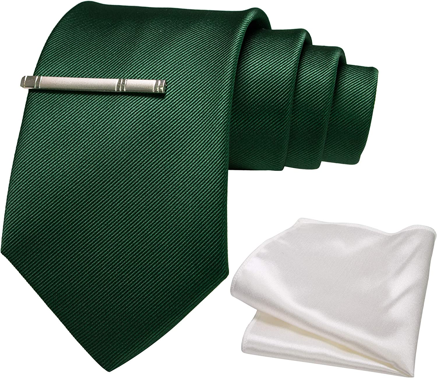 JEMYGINS Solid Color Extra Long Tie and White Pocket Square with Tie Clip Sets for Men+ Gift Box(XL Size)