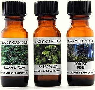 Crazy Candles 3 Bottles Set 1 Balsam & Cedar, 1 Balsam Fir, 1 Forest Pine 1/2 Fl Oz Each (15ml) Premium Grade Scented Fragrance Oils