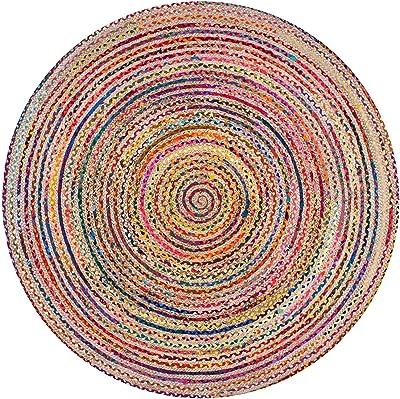ICRAFTY Handmade Jute Rag Rug Chindi Rug Multi Colored Indian Mat Recycled Rug Boho Decorative Rug (2 feet)