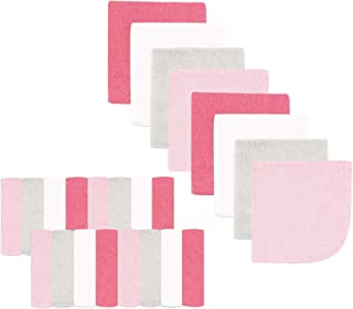 Luvable Friends Washcloths, Pink/Gray, 24 Count